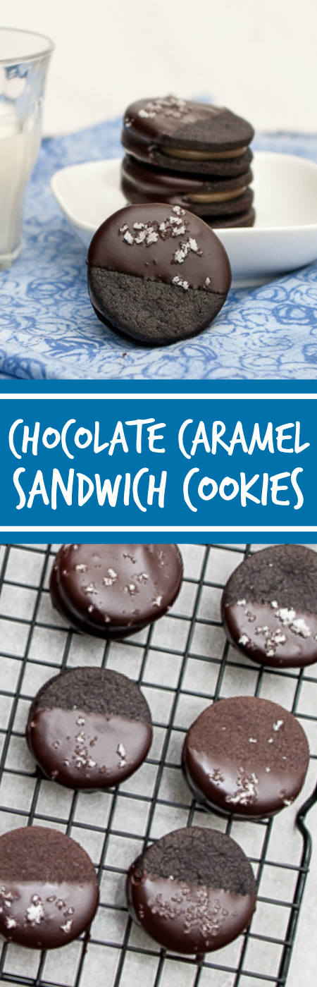 DecadentChocolate Caramel Sandwich Cookies hold a luscious layer of vanilla bean-laced caramel between two homemade chocolate wafers. This recipe's a hit for any gathering.