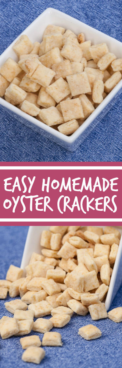 Using a pizza cutter to slice the dough makes creating homemade oyster crackers a breeze. These crackers are perfect for snacking or topping a bowl of soup!