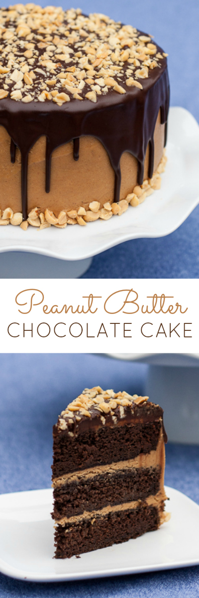 Peanut Butter lovers will go nuts for this Peanut Butter Chocolate Cake recipe featuring rich chocolate cake layered with smooth peanut buttery goodness and topped with rich chocolate ganache.