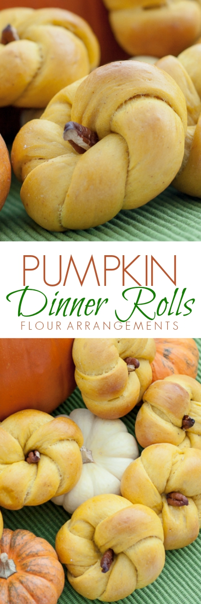 Pale orange in hue with pecan slivers for stems, these tender, subtly-spiced Pumpkin Rolls make for a great snack or dinner accompaniment.