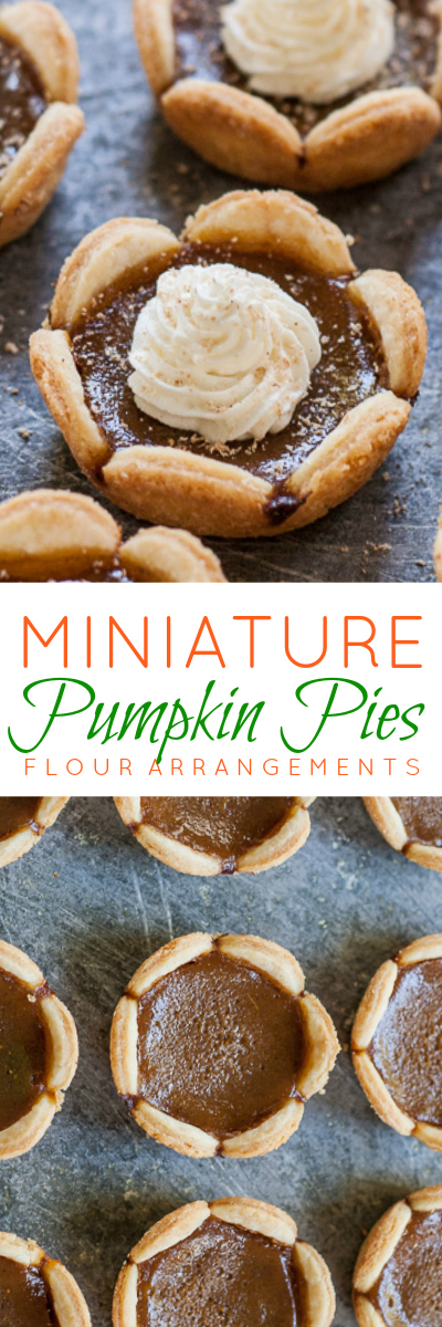 Tiny Pumpkin Pies simplify serving dessert. Deeply spiced smooth pumpkin filling gets extra depth and flavor from caramelized brown sugar as well as molasses.