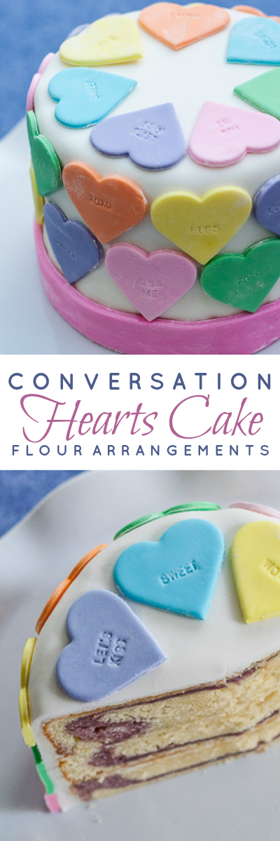 Pastel fondant hearts and a customizable letter stamp help create a personalized conversation hearts cake.