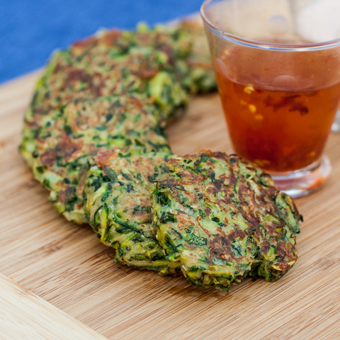 zucchini pancakes with basil & blue cheese-1