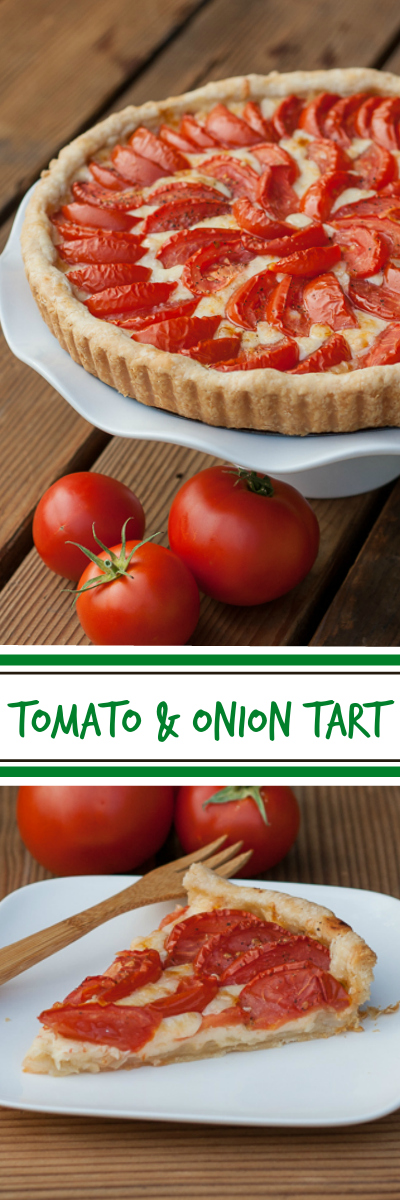 Roasted tomatoes really shine against a backdrop of rich caramelized onions, nutty Gruyere cheese, and flaky pastry crust in this tomato & onion tart recipe.