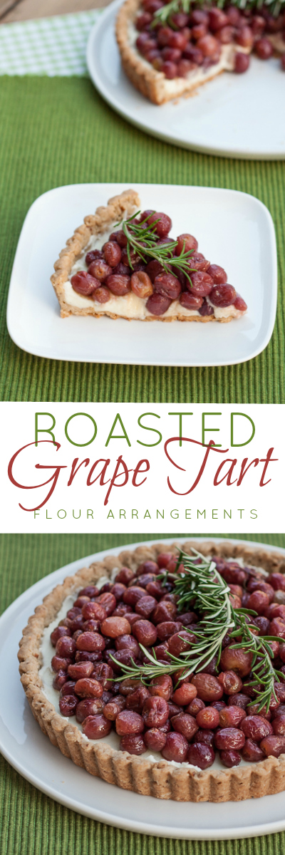 This roasted grape tart features flavorful fruit layered over over sweet mascarpone cream and a brown sugar-pecan crust. It's simple, yet elegant.