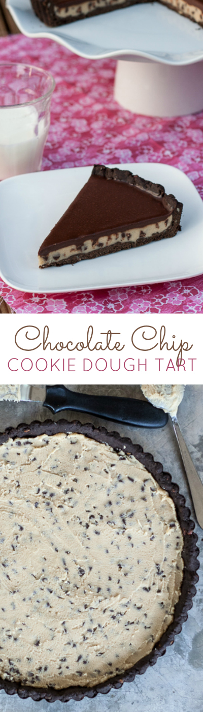 A thick layer of chocolate chip cookie dough -- sandwiched between chocolate shortbread and chocolate ganache -- creates an indulgent, delicious tart. A perfect recipe for legitimizing cookie dough as dessert!
