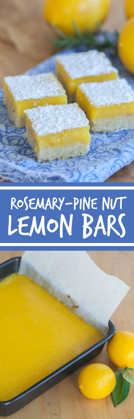 Bright lemon flavor shines against the subtle resinous backdrop of rosemary-pine nut shortbread in these Meyer Lemon Bars.