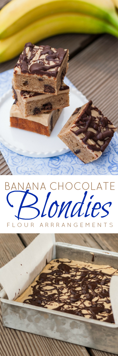 Full of sweet banana flavor and bursts of deep, rich chocolate, these Banana-Chocolate Blondies take this great flavor combination to new heights. Penuche frosting and a drizzle of chocolate add tempting, extraordinary flair to these tasty little bars. A potluck recipe.