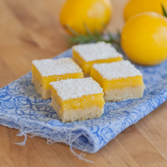 ... backdrop of rosemary-pine nut shortbread in these Meyer Lemon Bars