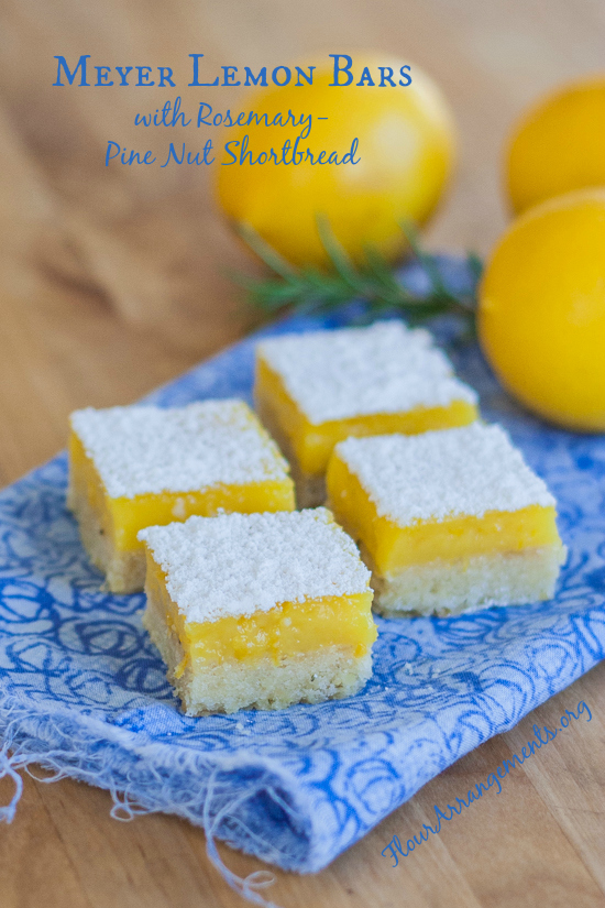 Meyer Lemon Bars with Rosemary-Pine Nut Shortbread