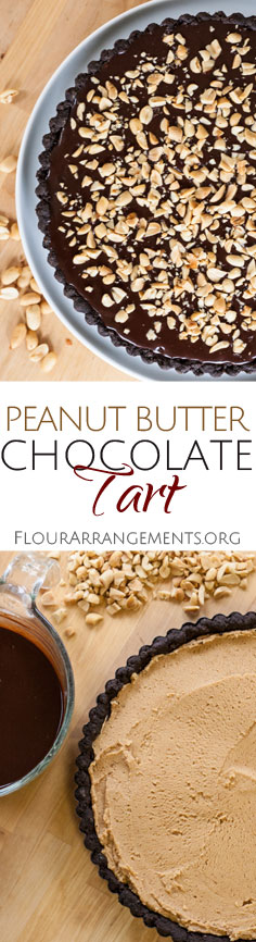 This indulgent Peanut Butter Chocolate Tart features creamy, rich peanut butter filling tucked between a chocolate crust and chocolate ganache.