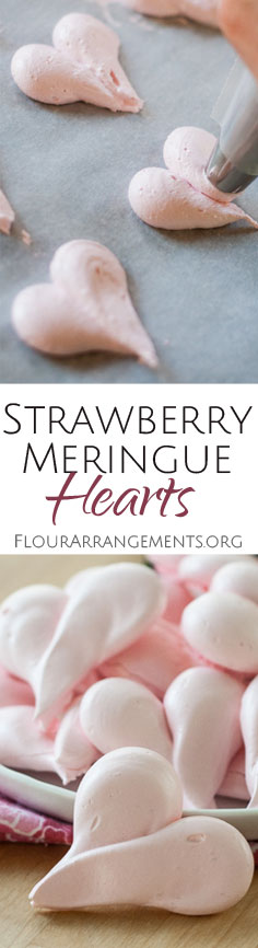 These crisp little Strawberry Meringue Hearts melt in your mouth with a sweet, hint-of-strawberry flavor that comes from freeze-dried strawberries.