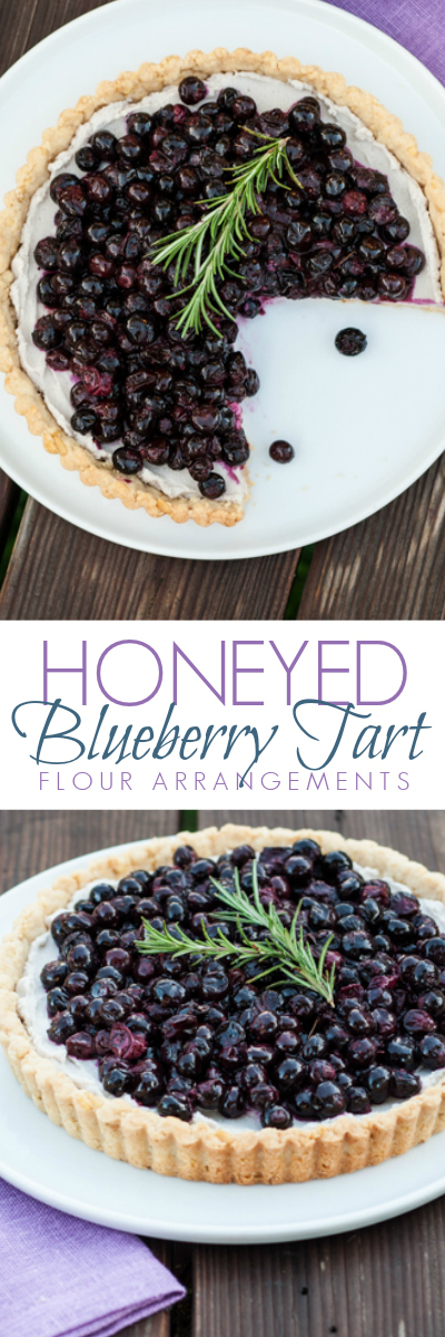 This Honeyed Blueberry Tart mingles honey's distinctive sweetness with flavorful roasted berries and smooth mascarpone cream. A perfect recipe for showcasing fresh blueberries.