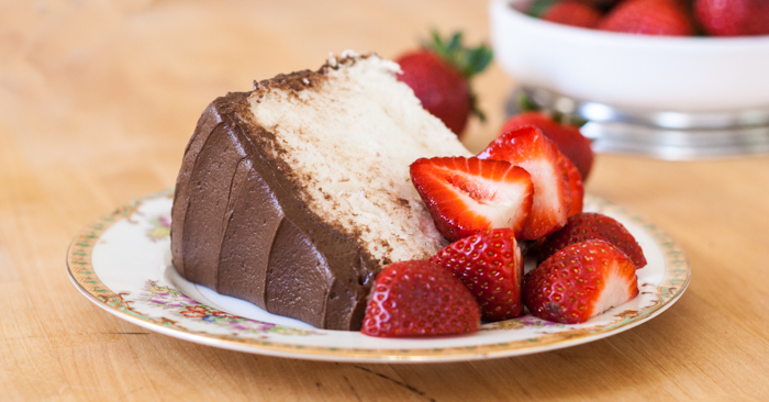 Angel Food Cake with Chocolate Frosting   Flour Arrangements