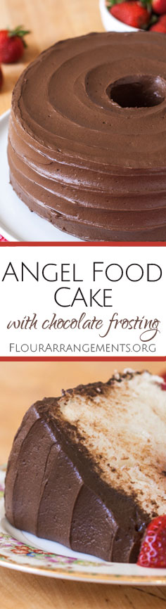 This scratch Angel Food Cake recipe yields a lighter, more delicate cake than one mixed from a box. Topped with rich chocolate frosting, this sweet, airy dessert tastes heavenly. From Flour Arrangements.