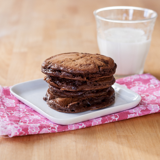 Chocolate Chocolate-Chip Pancakes | Flour Arrangements. Cocoa powder and mini chocolate chips make Chocolate Chocolate-Chip Pancakes super indulgent. Serve as a special breakfast treat or a surprising dessert.