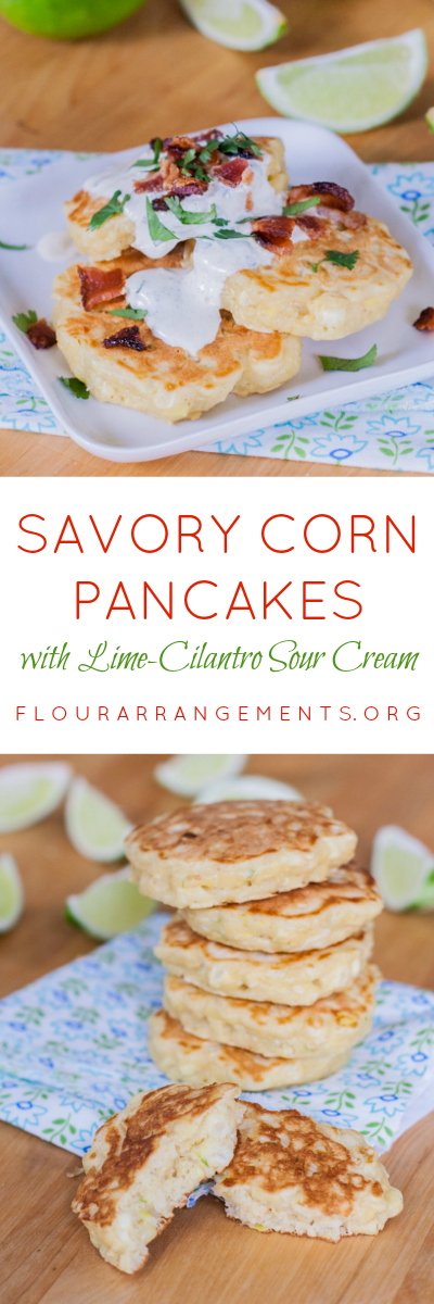 Topped with Lime-Cilantro Sour Cream and sprinkled with chopped bacon, these Savory Corn Pancakes taste like little bites of summer.