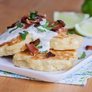 Savory Corn Pancakes with Lime-Cliantro Sour Cream | Flour Arrangements