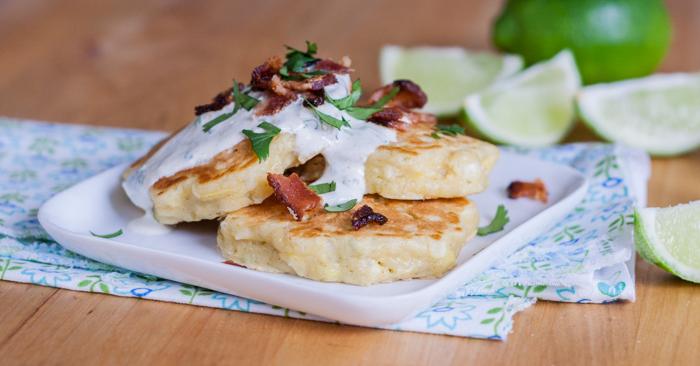 Savory Corn Pancakes with Lime-Cliantro Sour Cream | Flour Arrangements