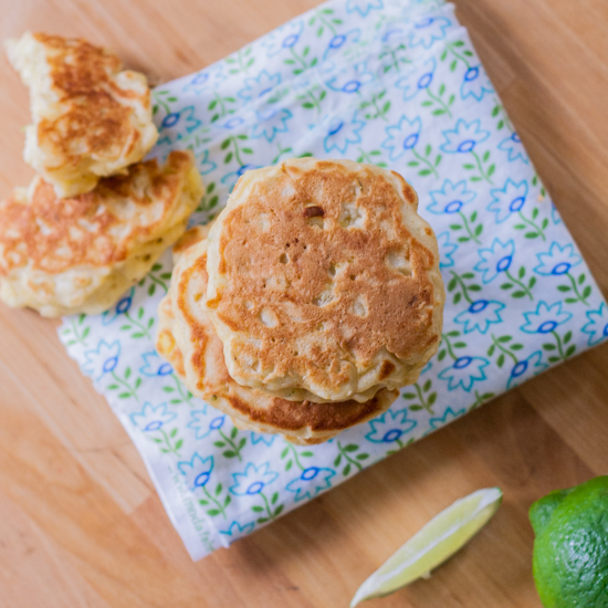 savory corn pancakes with lime cilantro sour cream -4