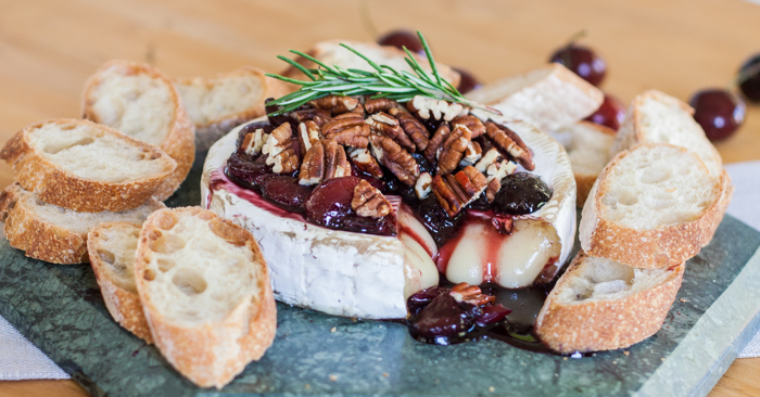 Baked Brie with Honeyed Cherries & Toasted Pecans | Flour Arrangements