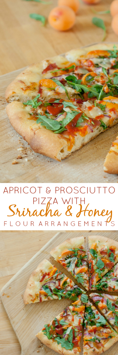 Ripe apricots, prosciutto, red onions, and arugula get a flavor boost from spicy Sriracha and drizzled honey on this simple summer pizza.