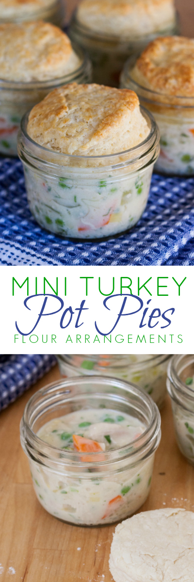 Those light, flaky buttermilk biscuits meet comforting savory pot pie filling in the most adorable packaging ever. Mini turkey pot pies are a perfect way to give new life to leftover Thanksgiving turkey.