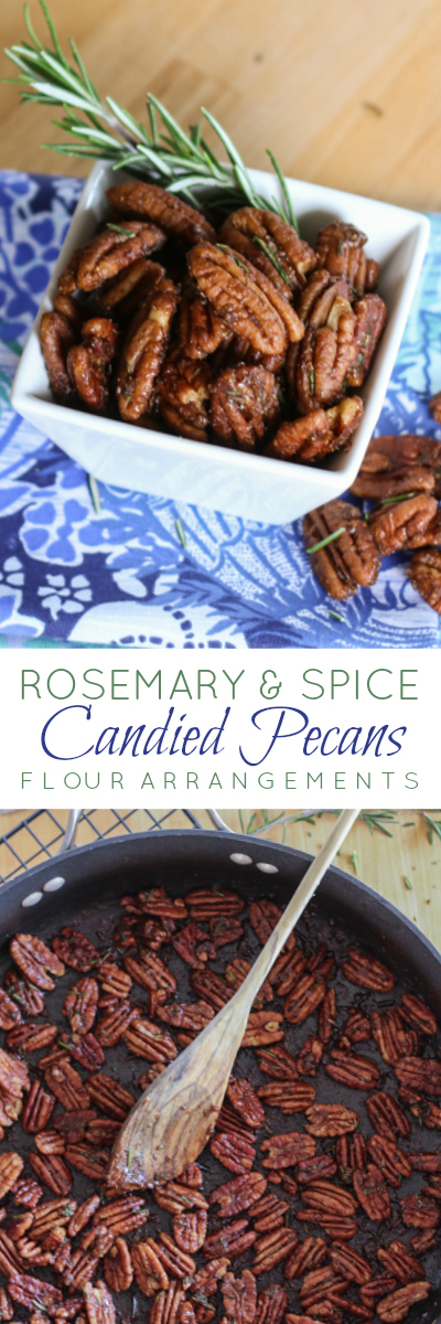 Simple, yet addictive, these Rosemary and Spice Candied Pecans are sweet and salty and full of bold flavor. This party snack recipe is quick and easy to prepare.