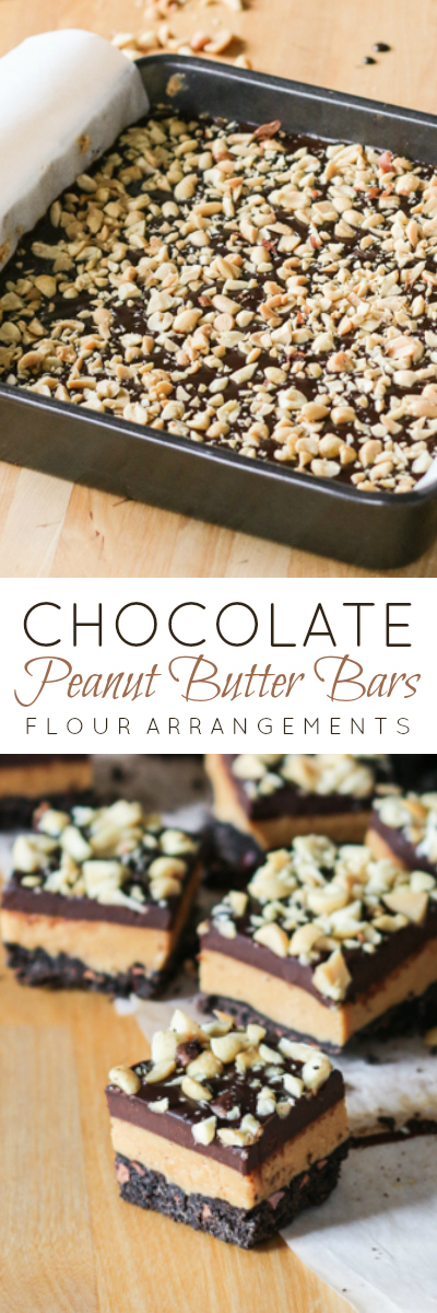 These irresistible Chocolate Peanut Butter Bars include a thick layer of lightly sweetened nutty peanut butter filling sandwiched between dark chocolate shortbread and decadent chocolate ganache.