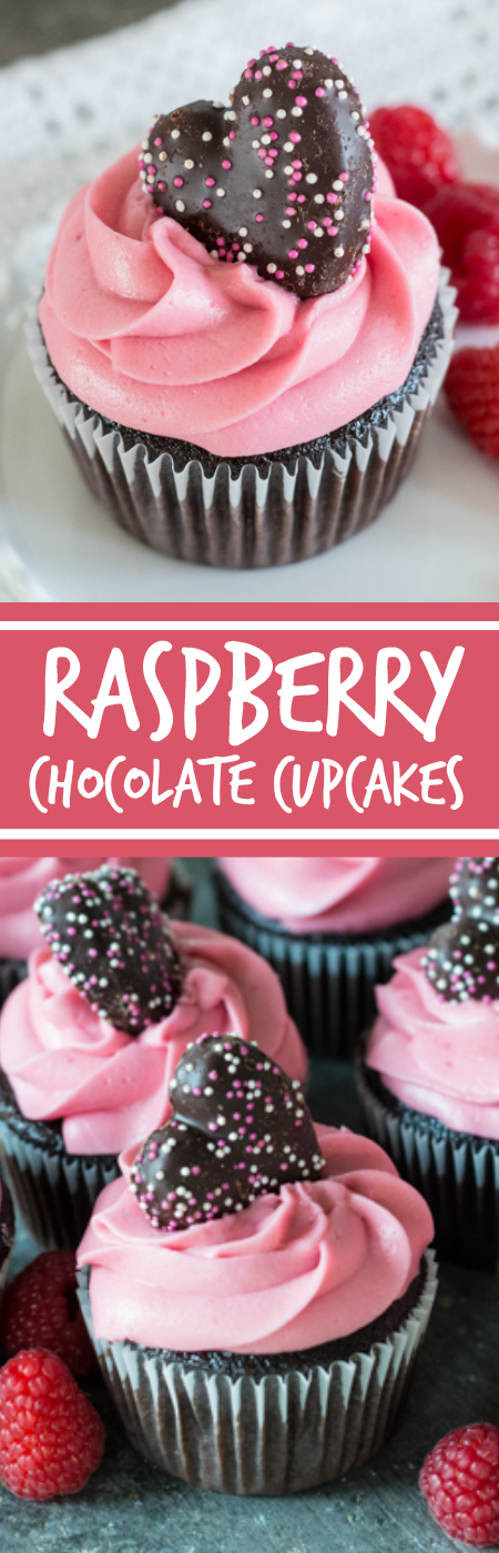 Fresh raspberries, Framboise, and plenty of dark chocolate come together in these decadent Raspberry Chocolate Cupcakes. A great celebration recipe! Top with heart-shaped cookies for Valentine's Day.