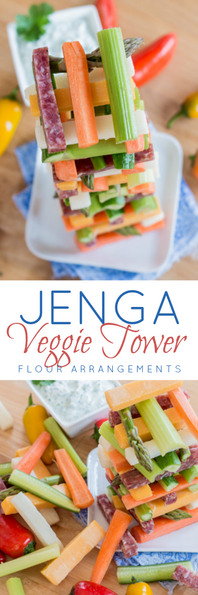 Why serve veggies on a platter when you can go vertical instead? Build a Jenga Veggie Tower for your next party.
