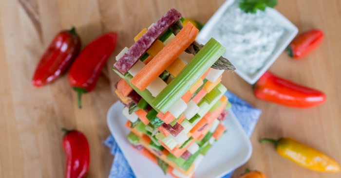Jenga Veggie Tower | Flour Arrangements