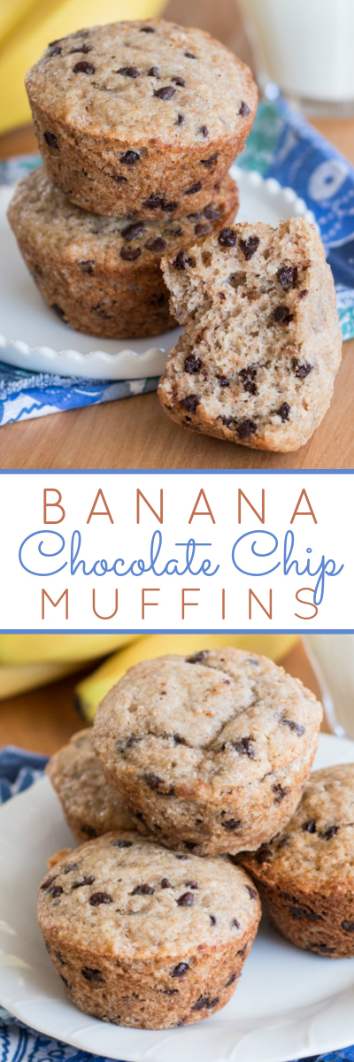 With just a hint of spice, these Banana Chocolate Chip Muffins deliver sweet banana bread goodness combined with rich chocolate decadence.
