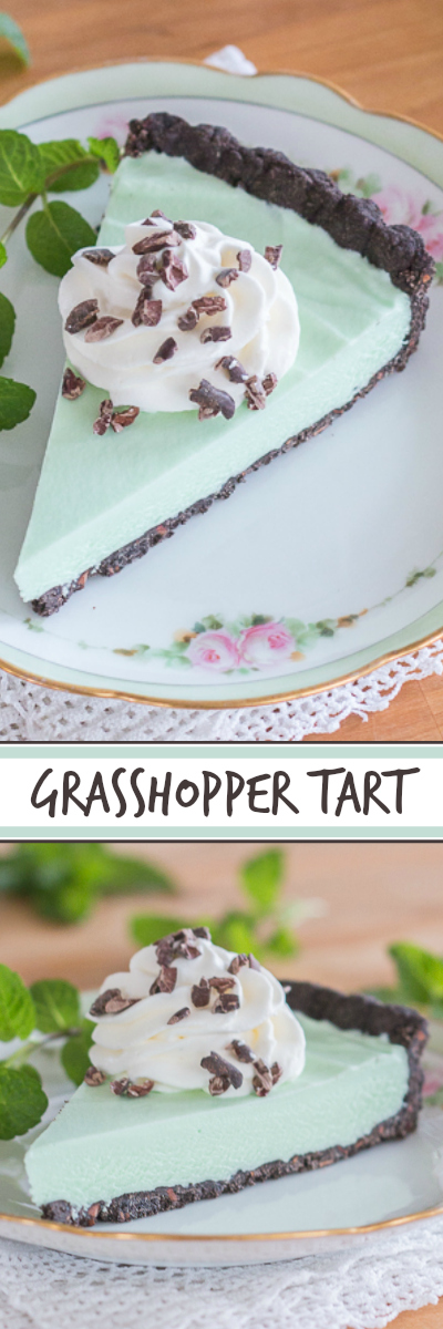 A simple-to-prepare chocolate shortbread crust provides the perfect backdrop for the cool, minty filling of this grasshopper tart. The tart's pale green filling makes it an ideal dessert for St. Patrick's Day.