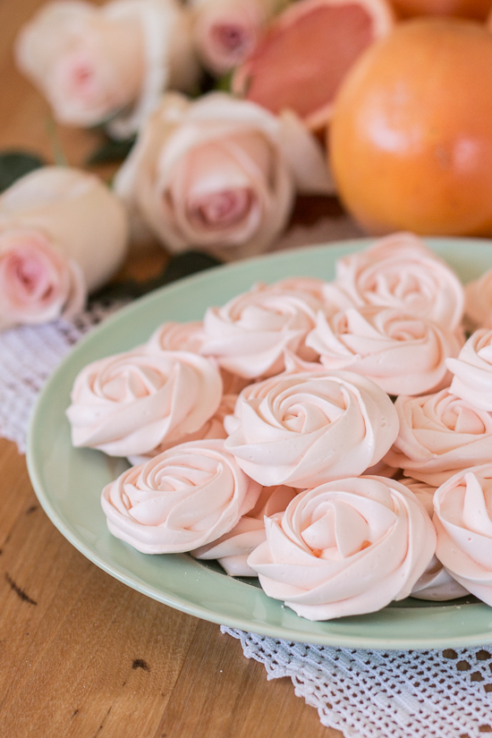 Light and crunchy, these grapefruit meringues taste spectacular on their own or as sweet accompaniment to a bowl of ice cream or fresh berries and cream. These pretty pastel roses would make a perfect edible decoration for a wedding or bridal shower.