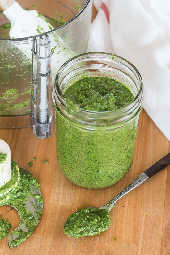 A departure from traditional basil pesto, this arugula-basil pesto blends spicy arugula, sweet basil, and fresh mint to create a unique summer recipe. Pine nuts, slivered almonds, garlic, and capers round out the flavors in this easy, versatile sauce.