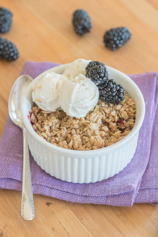 With minimal prep required, this blackberry crisp makes summer baking a breeze. Its sweet berry flavor and hint-of-spice oatmeal-streusel topping taste amazing oven-warm with rich vanilla ice cream.