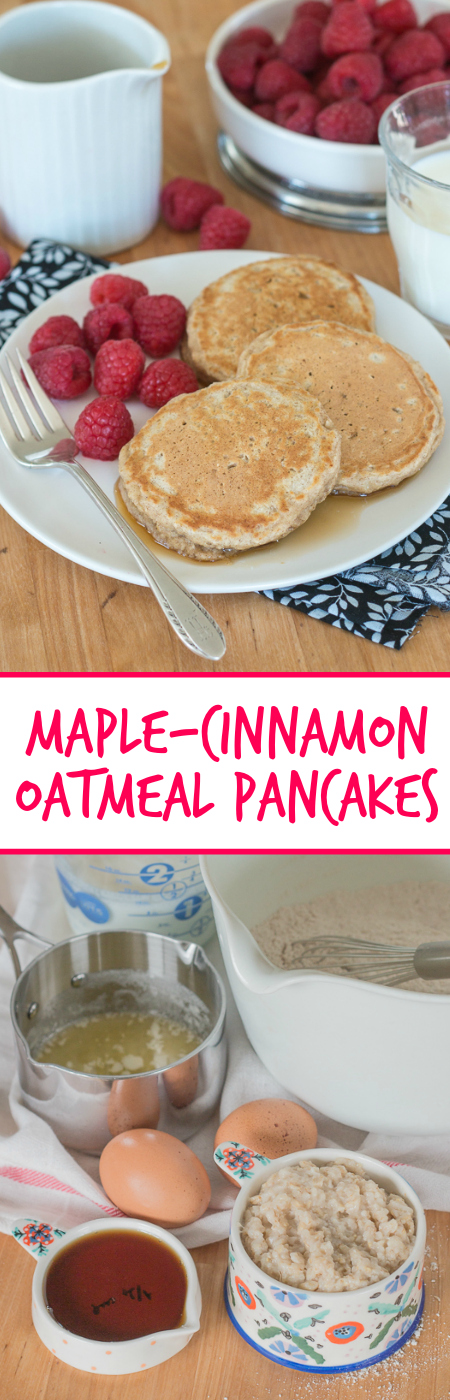 Sweetened with maple syrup and spiced with cinnamon, these oatmeal pancakes will start your day with a substantial, whole grain take on pancakes.