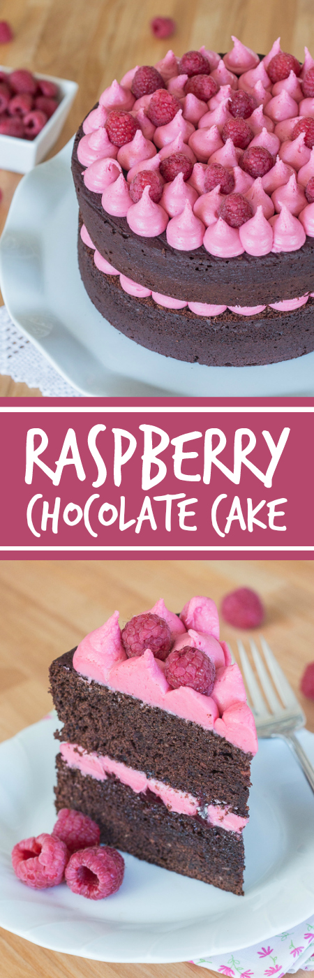 Simple and elegant, this raspberry chocolate layer cake blends rich, decadent chocolate with tart, sweet raspberries. Raspberry liqueur adds a fruity backdrop to the chocolate cake layers, while raspberry jam and raspberry buttercream add bright sweetness.