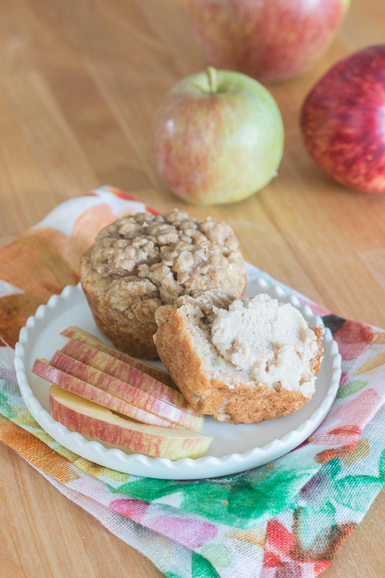 Packed with diced apple, sweetened with maple syrup, and spiced with cinnamon, these maple-oat apple muffins get extra sweetness and texture from a lightly spiced streusel topping. Oven warm and slathered with maple-cinnamon mascarpone, they're a perfect fall treat.