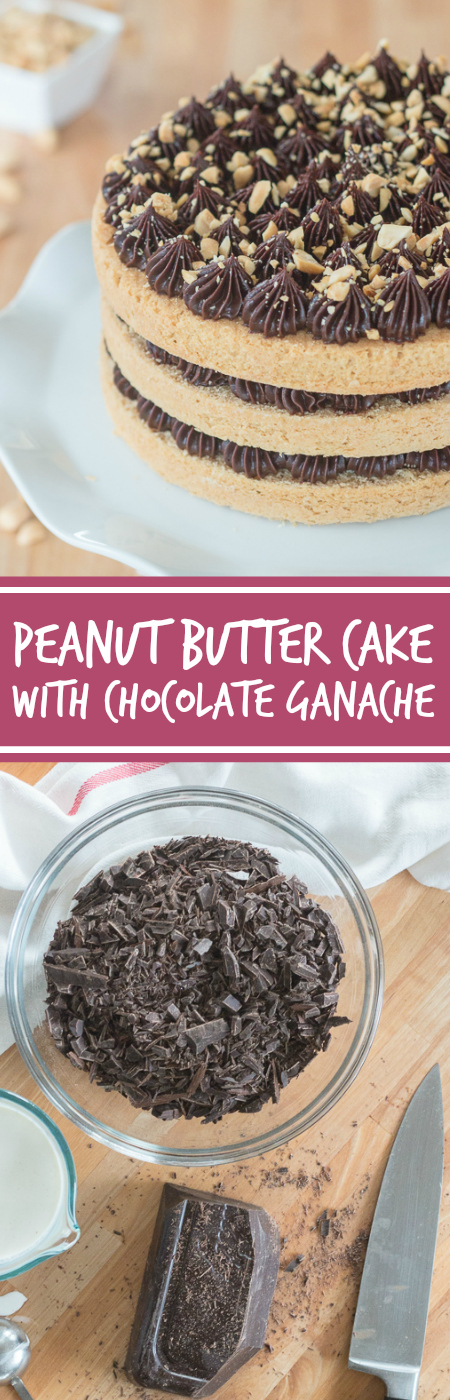 Sweet, nutty cake layers interspersed with a decadent ganache come together in this peanut butter cake with chocolate ganache. Indulgent and flavorful, this cake is a peanut butter lover's dream.