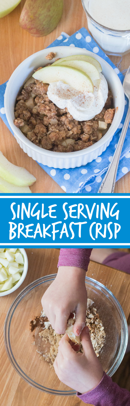 Start your day right with a quick and easy single serving breakfast crisp. Top your favorite fruit with a quick mix oat-cinnamon streusel topping and enjoy warm, delicious crisp in less than 10 minutes!  This simple recipe is great for kids.