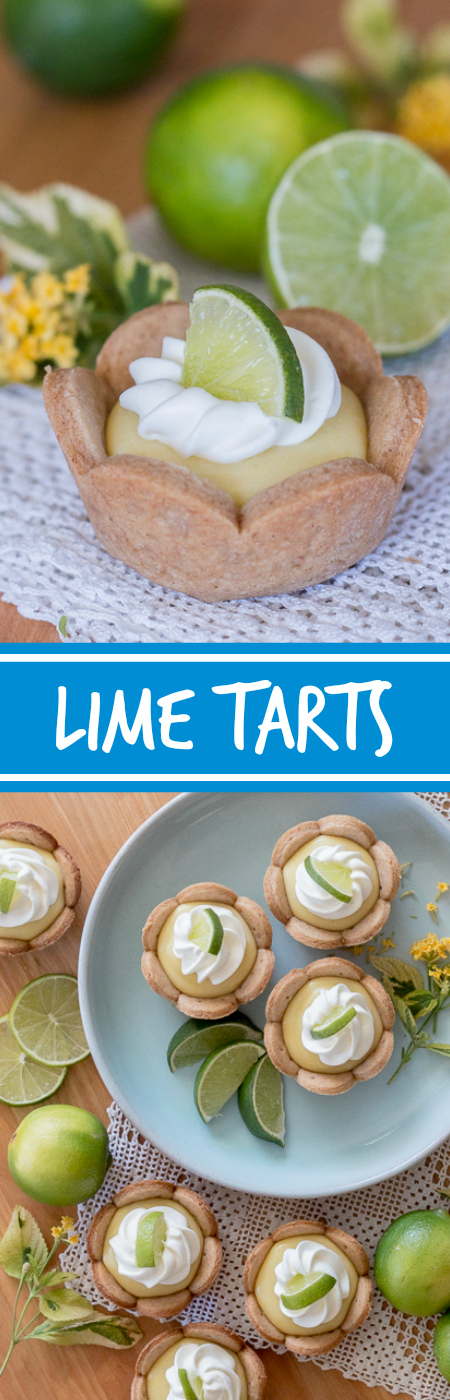 Homemade graham cracker cups filled with sweet, tangy lime curd come together in adorable little lime tarts. Simple to serve, these eat-by-hand treats make a perfect party dessert. This recipe can be prepared ahead of time too!