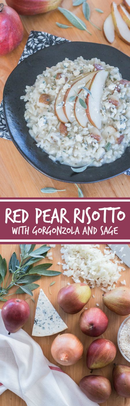 Sweet red pears blend perfectly with pungent Gorgonzolaand aromatic sage in this flavorful, comforting risotto. Dispensing with the constant stirring typically associated with risotto preparation, thisred pear risotto with Gorgonzola and sage recipe comes together easilyand efficiently.