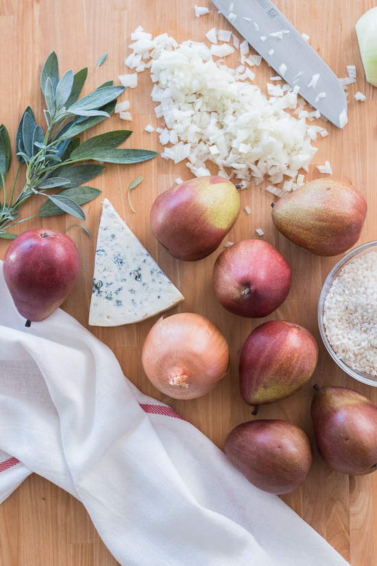 Sweet red pears blend perfectly with pungent Gorgonzola and aromatic sage in this flavorful, comforting risotto.  Dispensing with the constant stirring typically associated with risotto preparation, this red pear risotto with Gorgonzola and sage recipe comes together easily and efficiently.