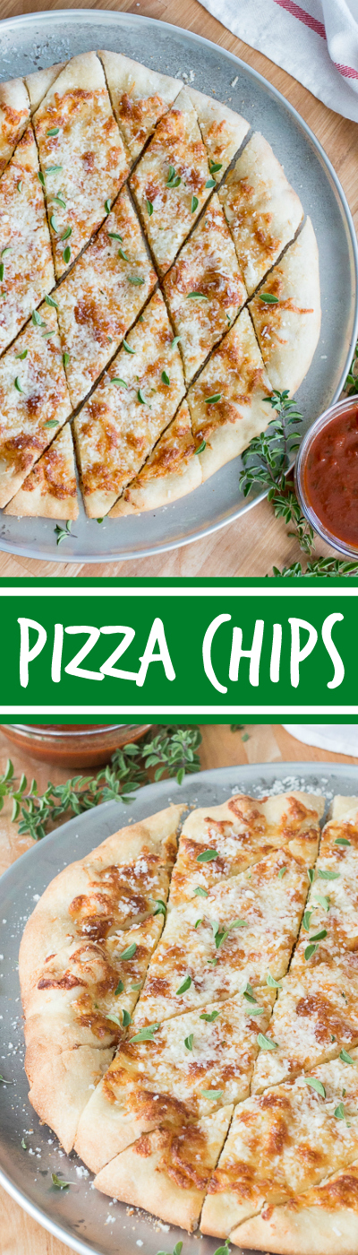 With a small bowl of marinara sauce for dipping, these cheesy, garlicky pizza chips make a fun party appetizer. A perfect recipe for Super Bowl Sunday!