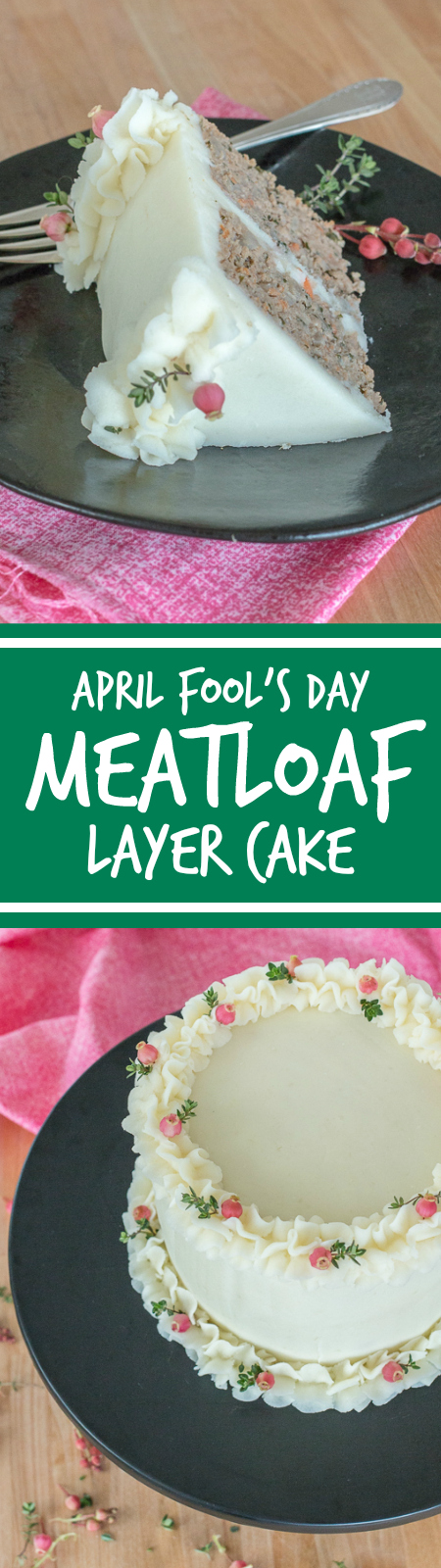 Surprise your friends and family on April Fool's Day with this comfort-food-gone-fancyMeatloaf Layer Cake.Each slice delivers a perfect serving of savory, flavorful meatloaf covered with smooth, creamy Gruyere mashed potatoes.
