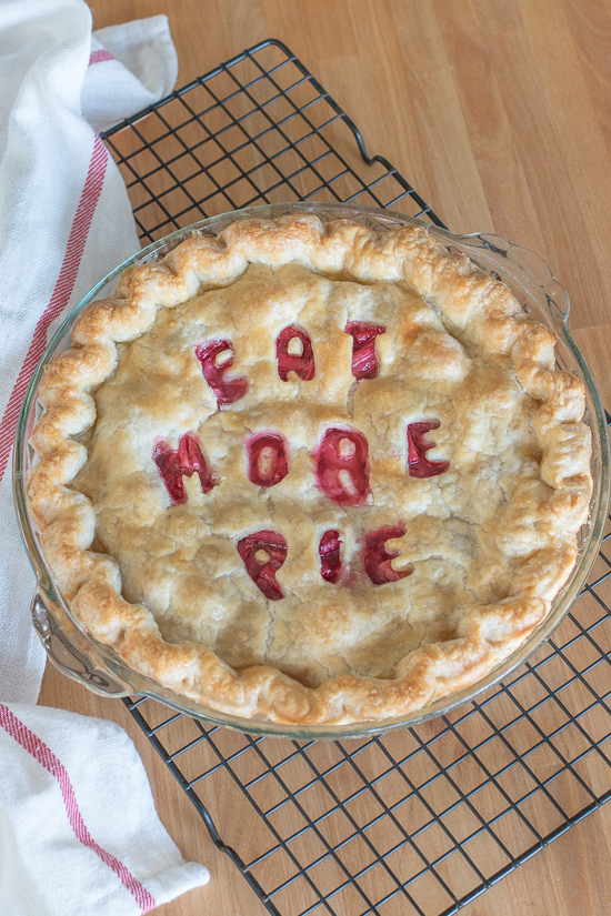 Sweet and tangy, this straight-up rhubarb pie shines a spotlight on thetantalizing flavor of rhubarb's bright crimson stalks. A rich buttery pastry crust provides the perfect backdrop for this pleasantly sour filling.