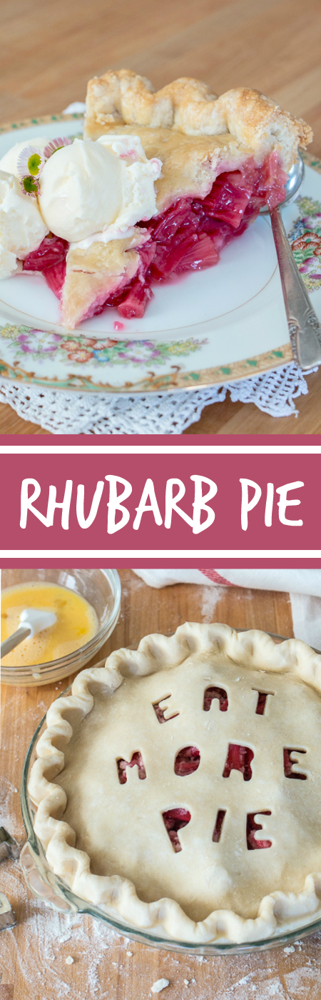 Sweet and tangy, this straight-up rhubarb pie shines a spotlight on the tantalizing flavor of  rhubarb's bright crimson stalks. A rich buttery pastry crust provides the perfect backdrop for this pleasantly sour filling.