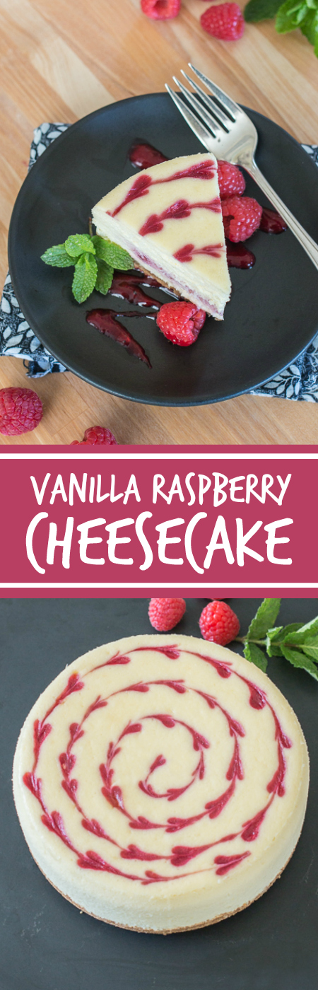 Smooth and indulgent, this Vanilla Raspberry Cheesecake hides a surprise layer of tart raspberry filling in the center. Decorative heart embellishments add flair to this petite, delicious cheesecake.